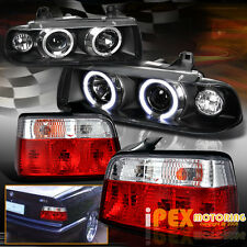 1992-1998 BMW 3-Series E36 4Dr Halo Projector Black Headlights + Red Tail Light
