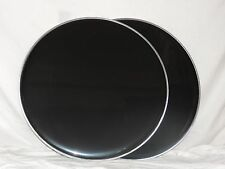 "NEW Pair 22""  Black Bass Drum Heads Two Heads Included Cheap Price"