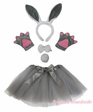 Easter Party Kids Gray Bunny Rabbit Headband Paw Tail Bow Gauze Skirt Costume 5P