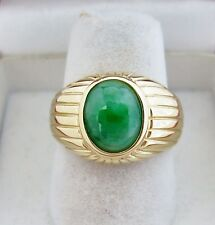 14K Yellow Gold Ring w/ 10mm A Grade Green JADEITE Jade  (6.6 grams, size 6.75)