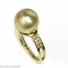 Golden South Sea Diamond Pearl Ring 18kt Gold 11mm