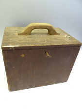 Antique Old Used Brown Wood Wooden Locking Strongbox Box Storage Container Key