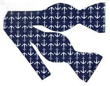 (1) BOW TIE- HIGH SEA ADVENTURE! NAUTICAL WHITE ANCHORS ON NAVY BLUE