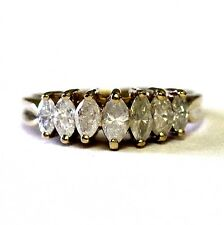 14k yellow gold .98ct marquise diamond anniversary ring womens vintage 3.7g I3 H