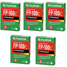 Lot of 5 Fuji FP-100C Instant Color Film Fujifilm FP100C, 50 Prints