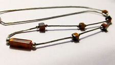"""NATIVE AMERICAN LIQUID SILVER CHRYSOBERYL CAT EYE SQUARE BEADS NECKLACE [17""""]"""