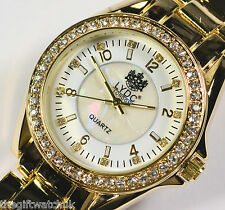 LYDC London Ladies Watch Gold Tone BIG DIAL Sparkly Crystal NEW