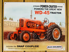 Allis Chalmers WD-45 TIN SIGN garage decor vintage antique tractor wall art 1167