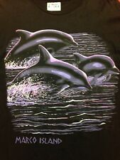 Used Black Dolphin Marco Island X-Large T-shirt Ocean Sea Marine Biology