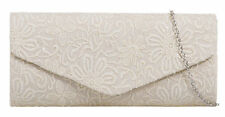 Sequins Glitz Lace Clutch Bag Embroidered Wedding Evening Prom Womens Events