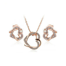 Hot Fashion 18K Rose Gold Plated Double Heart Pendant Necklace Earrings Set
