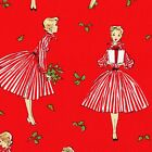 RETRO Holiday Hostess MICHAEL MILLER Fabric FQ VINTAGE CHRISTMAS Festive RED 60s