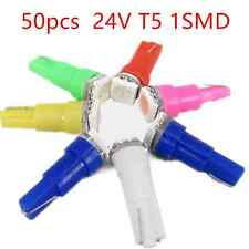 50x T5 1SMD 5050 24V Car Side Marker Light LED Bulbs white/yellow/green/red/pink