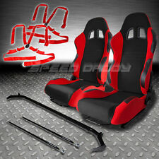 2 RED RACING SEATS+HARNESS BAR+4PT CAMLOCK BELTS HONDA DEL SOL/CIVIC/PRELUDE/MR2