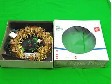VINTAGE CHRISTMAS holly PLAQUE TREE TOPPER LIGHTS TINSEL