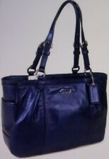AUTHENTIC COACH GALLERY SHIMMER LEATHER LARGE TOTE PURSE F17722 NAVY $378 - RARE