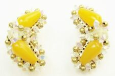 Vintage Hobe Yellow, Gold and AB Rhinestone Clip On Earrings VGC