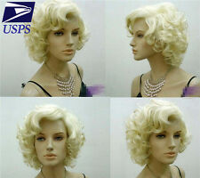 Hot New Women Short Blond Curly Wavy Cosplay Marilyn Monroe Party Lady Hair Wigs