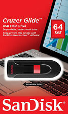 SanDisk 64GB Cruzer GLIDE USB Flash Pen Drive SDCZ60-064G-B35 Sealed Retail Pack