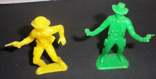 "Plastic COWBOYS Large 3"" Tall  Action Figures with Guns Vintage Lot of 2"