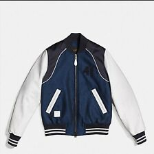 Coach Piped Varsity Jacket Denim Leather XS $595 NWT