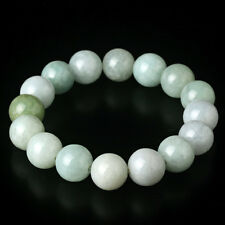 Natural Grade A Jade (jadeite) 13mm Light- Green Bead Bracelet Blessing