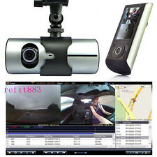 "R300 2.7"" Dual Lens Dash Cam Full HD Car DVR Camera Video Recorder w/ GPS Logger"