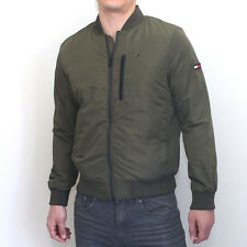 NWT Tommy Hilfiger Mens Nylon Bomber Jacket Olive Classic Fit