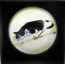 Cat paperweight Black & White Cat Sleeping  Decorative Dome Glass   Boxed