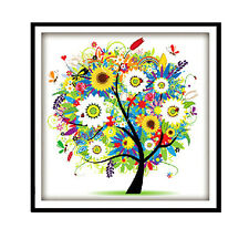Counted Cross Stitch Kit Embroidery Set Colorful Tree 14CT 45*45cm Home Decor