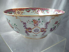 GRAND BOL A PUNCH PORCELAINE DE CHINE FAMILLE ROSE 18 EME SIECLE TRES BON ETAT