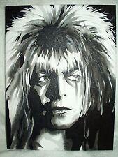 Canvas Painting Labyrinth Movie David Bowie Jareth E B&W 16x12 inch Acrylic