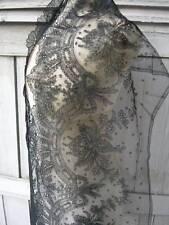 Pristine antique french chantilly lace flounce/panneau 235cms x 32cms