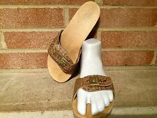 Vintage Original Dr Scholls Exercise Hand Tooled Wood Sandals Women's Sz 7 Italy