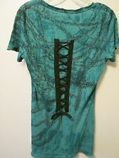 Affliction Tie Dye Green Black Tie Up Back Chain Crosses V Neck Top Sz M  NWT
