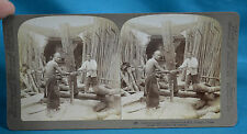Stereoview 1900 Chinese Saw Mill Lumber Makers Ningpo 宁波 China 中国 NR