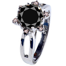 2.18+ ct BLACK MOISSANITE ROUND & NATURAL ROUGH DIAMOND.925 SILVER RING