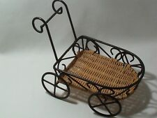 Push Cart Planter Holder Doll Cart Decoratative Accessory Metal & Wicker