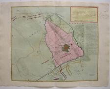 Krefeld Belagerung Siebenjähr Krieg seltene Orig Kupferstichkarte Tirion 1758
