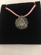 All Seeing Eye R59 Pewter Pendant on a PINK CORD Necklace