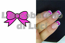 20 AUTOCOLLANTS POUR ONGLES FLOCON NOEUD ROSE PINK BOW NAIL ART NAILS STICKERS