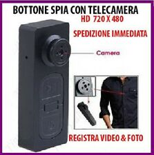 BOTTONE CON MICROCAMERA SPIA CIMICE VIDEO FOTO SPY CAM NASCOSTA MICRO CAMERA