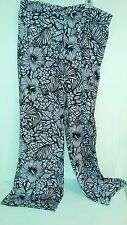 WORTHINGTON WOMENS WIDE LEG PALAZZO PANTS SIZE XL NWT FLORAL HIBISCUS BLACK