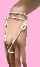 Bridal pearl and bead  floral hand bracelet Slave