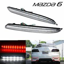 2pcs Clear Lens LED Rear Bumper Reflector Brake Light Mazda 6 Mazdaspeed6 Atenza