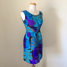 RETRO Vintage 60s HAWAIIAN Made TURQUOISE Blue PURPLE Mod MAD MEN Dress SIZE 8