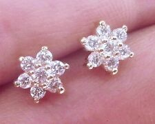 E057 - Sparkling 18K Solid Gold NATURAL Diamond Blossom Stud Earrings 0.40ct SI