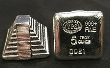 "YPS ""Aztec Pyramid"" 5oz 999+ fine silver bullion bar ""Yeager's Poured Silver"""