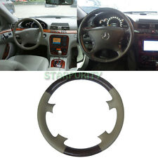 Tan Leather Wood Steering Wheel Cover f. Mercedes Benz W220 S-Class W215 C215 CL