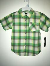 Hurley Kids Green Plaid Short Sleeve Shirt Size 5 NWT Boys